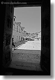 black and white, croatia, doors, europe, hvar, st stephan cathedral, towns, vertical, photograph