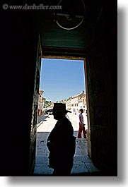 croatia, europe, hats, hvar, silhouettes, st stephan cathedral, vertical, womens, photograph
