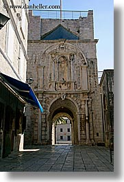arches, archways, croatia, europe, korcula, relief, under, vertical, photograph