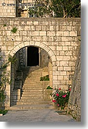 arches, archways, croatia, europe, flowers, korcula, stairs, vertical, photograph