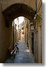 arches, archways, bicycles, croatia, europe, korcula, under, vertical, photograph