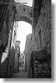 arches, archways, black and white, croatia, europe, high, korcula, vertical, photograph
