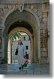 arches, archways, croatia, europe, korcula, nuns, religious, sequence, vertical, womens, photograph