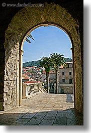 arches, archways, croatia, europe, korcula, palm trees, vertical, photograph