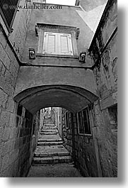 arches, archways, black and white, croatia, europe, korcula, stairs, under, vertical, photograph