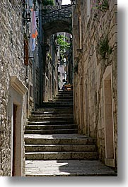 arches, archways, croatia, europe, korcula, stairs, under, vertical, photograph