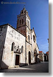 bell towers, churches, croatia, europe, korcula, vertical, photograph