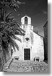 bell towers, black and white, churches, croatia, europe, korcula, vertical, photograph