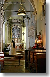 candles, churches, croatia, europe, korcula, nuns, vertical, photograph