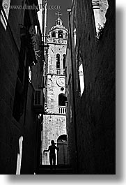bell towers, black and white, churches, croatia, europe, korcula, silhouettes, vertical, photograph