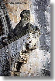 churches, croatia, europe, korcula, sculptures, stones, vertical, photograph