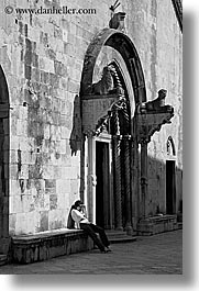 black and white, churches, croatia, europe, korcula, vertical, womens, photograph