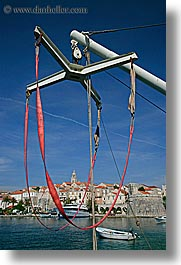 boats, cityscapes, croatia, europe, korcula, lift, vertical, water, photograph