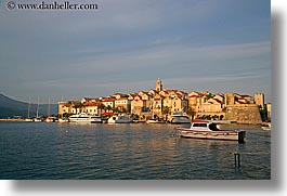 boats, cityscapes, croatia, europe, horizontal, korcula, sunsets, townview, water, photograph