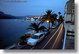 cars, cityscapes, croatia, europe, horizontal, korcula, long exposure, tail lights, water, photograph