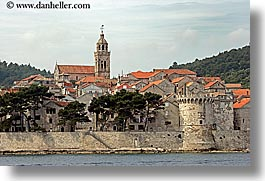 bell towers, cityscapes, croatia, europe, horizontal, korcula, towns, walls, photograph