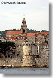 bell towers, cityscapes, croatia, europe, korcula, towns, vertical, walls, photograph