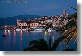 cityscapes, croatia, europe, harbor, horizontal, korcula, long exposure, nite, palmtree, towns, water, photograph