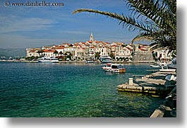 cityscapes, croatia, europe, horizontal, korcula, palm trees, palmtree, water, photograph