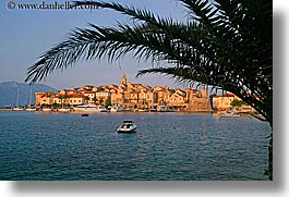 cityscapes, croatia, europe, horizontal, korcula, palm trees, palmtree, sunsets, water, photograph