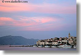 cityscapes, croatia, europe, horizontal, korcula, slow exposure, sunsets, water, photograph
