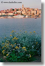 cityscapes, croatia, europe, korcula, plants, slow exposure, sunsets, towns, townview, vertical, water, photograph