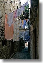 croatia, europe, hangings, korcula, laundry, vertical, photograph