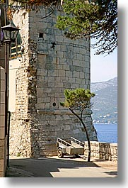 barrow, bent, croatia, europe, korcula, trees, vertical, wheels, photograph