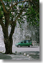 cars, croatia, europe, green, korcula, trees, under, vertical, photograph