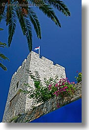 croatia, europe, flowers, korcula, towers, vertical, photograph