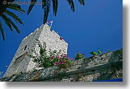 croatia, europe, flowers, horizontal, korcula, towers, photograph