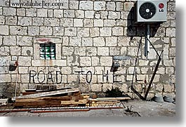 croatia, europe, graffiti, hells, horizontal, korcula, roads, photograph