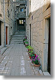 along, croatia, europe, flowers, korcula, narrow streets, vertical, walls, photograph