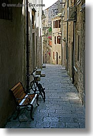 bicycles, croatia, europe, korcula, narrow streets, parked, vertical, photograph