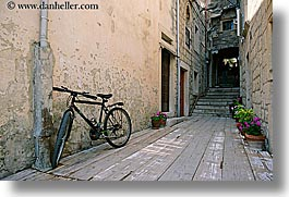 bicycles, croatia, europe, horizontal, korcula, narrow streets, parked, photograph