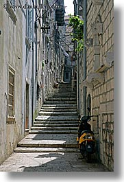 croatia, europe, korcula, motorcycles, narrow streets, parked, vertical, photograph