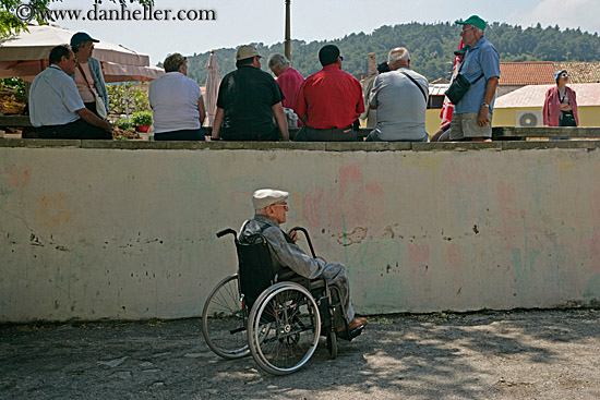 Old man in wheelchair falling down stairs Stock Photo - 6184425