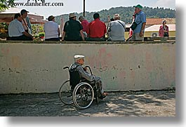 alone, croatia, europe, horizontal, korcula, men, old, people, wheelchair, photograph