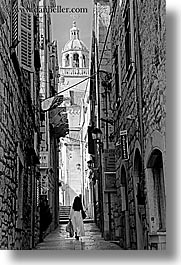 black and white, croatia, europe, korcula, nuns, people, streets, vertical, walk, photograph