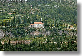 churches, croatia, europe, horizontal, korcula, scenics, trees, photograph