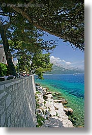 croatia, europe, from, korcula, ocean, scenics, shade tree, vertical, views, walls, photograph