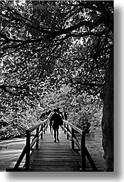 black and white, boardwalk, croatia, europe, forests, hikers, krka, slow exposure, vertical, photograph