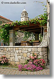 bell towers, croatia, europe, flowers, krka, terrace, vertical, photograph