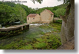croatia, europe, horizontal, houses, krka, slow exposure, water, photograph