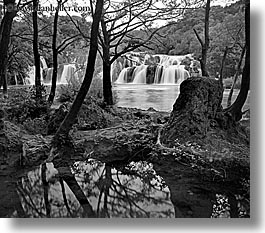 black and white, croatia, europe, horizontal, krka, long exposure, waterfalls, photograph
