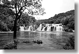 black and white, croatia, europe, horizontal, krka, slow exposure, waterfalls, photograph
