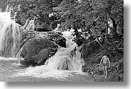 black and white, croatia, europe, horizontal, krka, men, viewing, waterfalls, photograph
