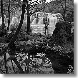 black and white, croatia, europe, krka, men, reflections, slow exposure, square format, viewing, waterfalls, photograph