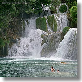 croatia, europe, girls, krka, people, square format, swim, swimming, waterfalls, photograph