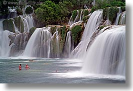 croatia, europe, girls, horizontal, krka, people, slow exposure, swim, swimming, waterfalls, photograph